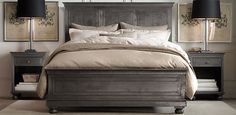RH's Bedroom Collections:At Restoration Hardware, you& explore an exceptional world of high quality unique bedroom furniture. Browse our selection of traditional bedroom furniture & bedroom sets from Restoration Hardware. Bedroom Sets, Dream Bedroom, Home Bedroom, Bedroom Furniture, Master Bedroom, Bedroom Decor, Master Suite, Bed Without Footboard, Restoration Hardware Bedroom