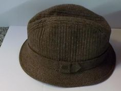 Mad Men 70's Style Totes Beige Tweed Fedora Rain Hat 100% Nylon Size L #Totes #FedoraTrilby