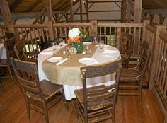 "The Byron Colby Barn is furnished with antique wooden tables, chairs, and other items ready for your decorative touch for your ""country elegant"" event."