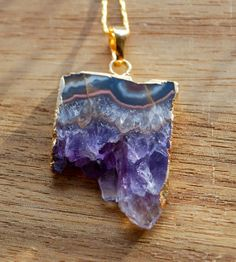 Raw purple amethyst rock crystal slice necklace by NevadaWild, $60.68
