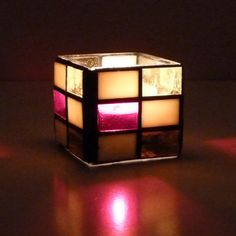 KIMBERLY Color Block Stained Glass Mosaic Candle by ShardsofGlass