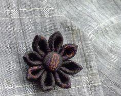 Custom Lapel Pins Mens Lapel Pin Flower Lapel Pin Daisy Gray Boutonniere Silk Lapel Flower Boyfriend Gift For Him Kanzashi Brooch Suit Pin