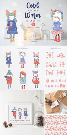 I'm happy to introduce the Cold weather, Warm friendship collection of illustrations, characters and seamless patterns. 6 cute girls in the winter outfit, hand