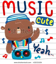 Cute cartoon teddy bear with headphones on a Turntable illustration vector.