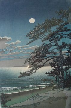 """Spring Moon at Ninomaya Seashore"" by Kawase Hasui"