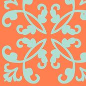 Coral and seafoam blue fabric. Hmmm. (Spoonflower)