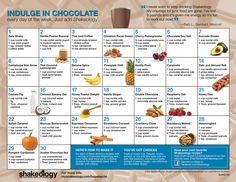 shakeology recipe calendar: chocolate three