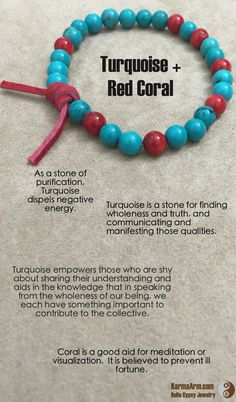 MANTRA: I choose to let go of the self doubt & speak my peace. Crystals And Gemstones, Stones And Crystals, Natural Gemstones, Red Coral, Turquoise, Mens Bracelet Fashion, Reiki Quotes, Stone Quotes, Chill Quotes