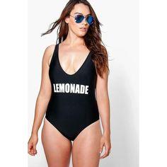 d2c864be96331 Boohoo Plus Alexis  Lemonade  Slogan Swimsuit
