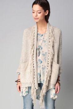 Ralph Lauren Denim Supply Women Cotton-Linen Fringed Shawl Knit Sweater  Cardigan