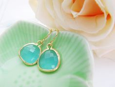$19.80 Mint Opal Glass Matte Gold Trimmed Earrings