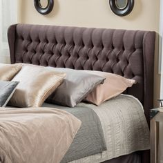 The Morris headboard is designed with button tufts and the quilted wingback feature makes this piece standout amongst its competitors. It can attach to almost any metal frame bed, as well as adjust according to the height of your mattress.