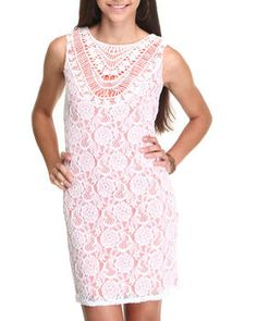 #preppy #lace #sheath #dress #coral <3 Get 6% cash back http://www.studentrate.com/itp/get-itp-student-deals/DrJays-Student-Discounts--/0