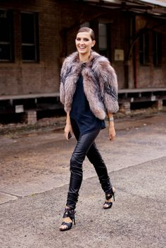 FURRY JACKET & Black Leather Pants | Street Style