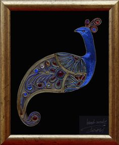 Handmade Thread Framed Peacock by RossiGoldThread on Etsy