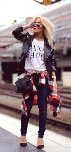 #fall #fashion / plaid + leather jacket