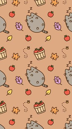 Apples, pumpkin pie, Pusheen, fall leaves and did
