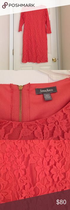 Coral Lace Dress Neiman Marcus! Beautiful lace dress. Only gently worn once. Neiman Marcus Dresses Midi