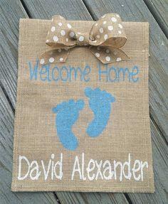 Personalized Garden Flag, Hospital Door Hanger, Birth Announcement Boy, Welcome Home Baby Banner, Baby Shower Banner, Yard Flags