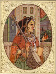 Indian Miniature Painting Rajasthani Princess Handmade Ethnic Decor Portrait Art