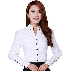 shirt running on sale at reasonable prices, buy TLZC Elegant Women Career White Shirts Size Long Sleeve Button Design Clothing 2018 Office Classic Lady Casual Blouses from mobile site on Aliexpress Now! Ladies Shirts Formal, Formal Blouses, Blouses 2017, White Shirts Women, Blouses For Women, Modelos Fashion, The Office Shirts, Work Shirts, Minimalist Fashion Women