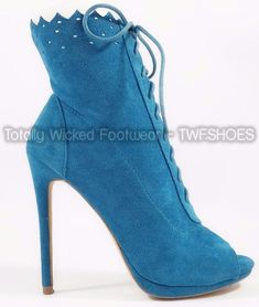 Stiletto Boots, Ankle Booties, Stretch Fabric, Open Toe, Teal, Lace Up, Booty, Platform, Closure
