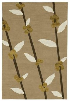 Judy Ross Hand-Knotted Custom Wool Coffee Tree Rug blonde/parchment/gold silk/fig