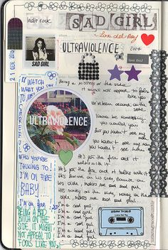 tizianagrace: Another page of my Moleskine Music. This time, Lana Del Rey. Junk Journal, Music Journal, Scrapbook Journal, Journal Pages, Arte Sketchbook, Fashion Sketchbook, Art Diary, Journal Aesthetic, Bullet Journal Inspiration