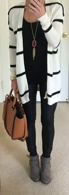 #fall #outfits women's white and black striped long-sleeved cardigan