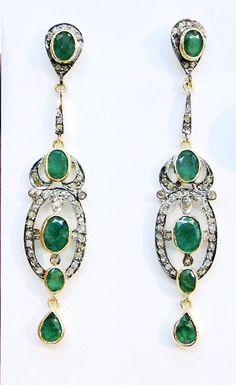 victorian diamond emerald gold silver pair of earrings-f53572.jpg 490×800 pixels