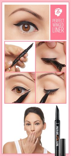 "Tip for an easy wing! Create a  wing ""marker"" by pressing the they're real! liner  tip at the outer corner of the eye toward the brow  before filling it in. #benefitcosmetics #realfineliner"