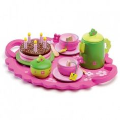 Djeco - Birthday Party Tea Time Tea Set: This sweet wooden birthday tea party set from Djeco encourages imaginative play. With everything she could need for a fabulous birthday gathering with friends she's sure to be the host with the most in no time. #alltotstreasures #djeco #birthdaypartyteatimeteaset #woodentoys #teaparty #cake #tea
