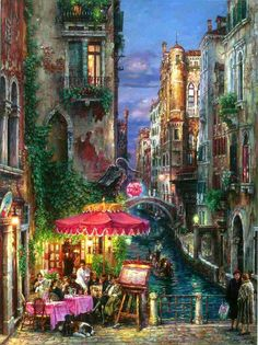 Red Umbrella by Cao Yong ~ Venice series
