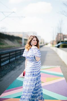 blue and white ruffle maxi dress // www.polishedclosets.com