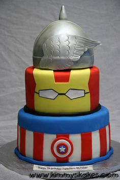 Super heroes Cake - this would be Oliver's favorite because it has his favorite Super Hero.... IRON MAN! child birthday, captain america, super hero cakes, avengers birthday, 50th birthday, groom cake, hubby birthday, birthday ideas, birthday cakes
