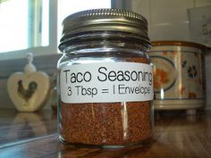 Homemade taco seasoning Ingredients 2 T. chili powder 3 tsp. ground cumin 2 tsp. fine sea salt 2 tsp. ground black pepper 1 tsp. smoked paprika 1/2 tsp. garlic powder 1/2 tsp. onion powder 1/2 tsp. crushed red pepper flakes 1/2 tsp. dried oregano 1/2 tsp. granulated sugar
