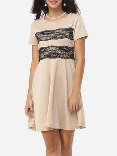 #Fashionmia - #Fashionmia Decorative Lace Graceful Round Neck Skater-dress - AdoreWe.com