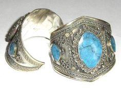 Fancy Modern Tribal Cuff Bracelet with Blue Stone Inlay on Birgiss Bellywear £15