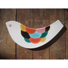 Rainbow Bird Tile, Xenia Taler    Love the feather painting idea for pottery; not so much the bird.