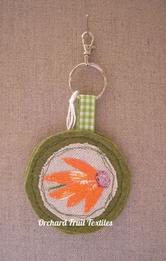 Flower keyring or bag charm by OrchardFruitTextiles on Etsy