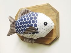 Bass fish wall trophy plush taxidermy nursery by KelseyDavisDesign