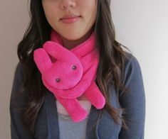 hot pink bunny animal scarf by buluchu on Etsy, $32.00