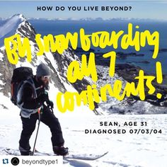 """#Repost @beyondtype1 ... Thanks for featuring our founder Sean Busby! Give them a follow!  Meet @seanbusby """"I was diagnosed at the age of 19 in the middle of my professional snowboarding career. I felt like my world came crashing down and my body turned against me. But with further research I found stories of kids with T1D and was inspired to continue snowboarding despite the disease. I founded @RidingOnInsulin to give back what I love about winter sports to kids and their families with T1D…"""