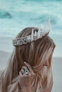 Handmade mermaid crown with white seashells by Wild & Free Jewelry. The perfect bridal shell crown. Seashell Crown, Shell Crowns, Mermaid Crown, Lace Ribbon, Tiaras And Crowns, La Jolla, Vintage Lace, Headdress, The Little Mermaid