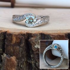 Ladies 14 Karat White Gold Custom Made Engagement Ring With Custom Hand Engraving and a Turquoise Stone Accent. #JewelerByDesign