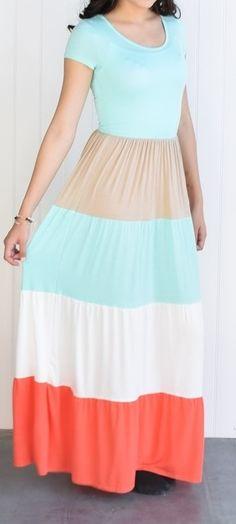 Color Block Short Sleeve Maxi Dress | Jane