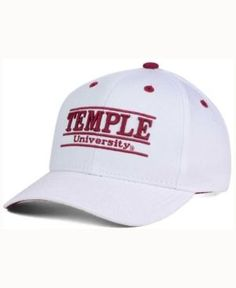 Game Time Temple Owls Classic Game 3 Bar Cap - White/Crimson Adjustable