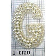 """Letter """"G"""" with White Pearls 2"""""""