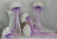 """This listing is for (1) """"custom order"""" adorable white peony shabby chic flower girl wand. Created with a white peony, sheer & satin bows with several shades of white, iridescent and lavender ribbon to sway in the wind... Measures Approx. 14"""" in total height (can be customized) If you wish to purchase additional wands, """"PLEASE"""" contact us and we will be happy to create a custom listing for you to complete your purchase. Due to the nature of handmade items, each piece may have very s..."""