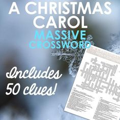 A MASSIVE 50 clue crossword for Dickens' 'A Christmas Carol'. Use as a review game or a homework task.